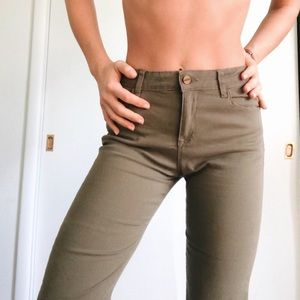 Wide-leg cropped trousers | olive green